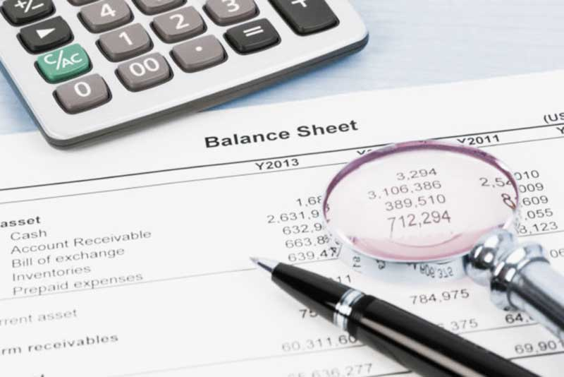 Balance sheet financial report